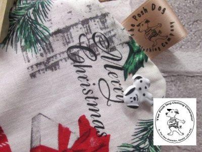 the posh dog clothing company Christmas bandannas big London red 2
