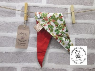 the posh dog clothing company Christmas bandannas med holly red 1