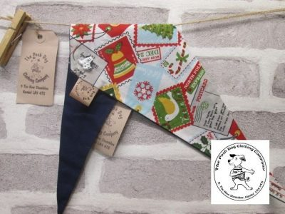 the posh dog clothing company Christmas bandannas med santa stamps dk blue 1