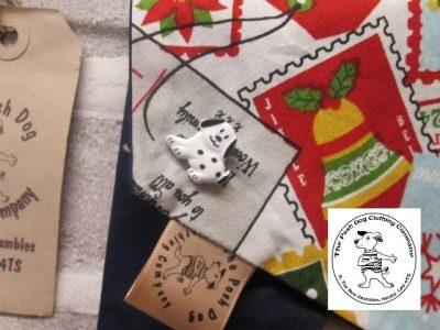 the posh dog clothing company Christmas bandannas med santa stamps dk blue 2