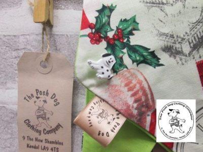 the posh dog clothing company Christmas bandannas small London lime a2