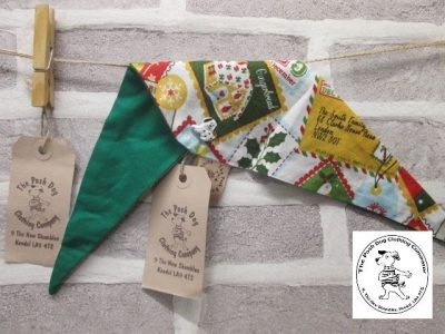 the posh dog clothing company Christmas bandannas small santa stamps green 1