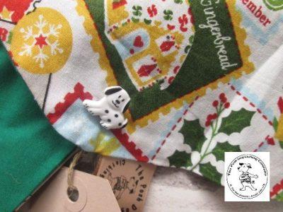 the posh dog clothing company Christmas bandannas small santa stamps green 2