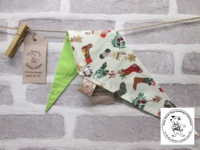 the posh dog clothing company Christmas bandannas small stockings trees lime 1
