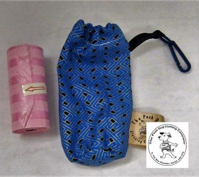 the posh dog clothing company walkeis collection poo bag holder blue design 1