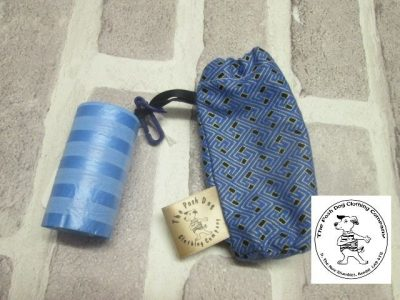 the posh dog clothing company walkies collection poo bag blue geo