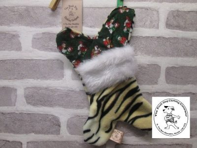 the posh dog clothing company a collars for Christmas Christmas stocking tiger green 1