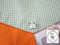the posh dog clothing company bandanna green gingham orange 1 1