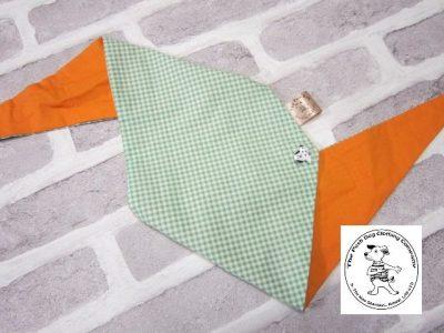 the posh dog clothing company bandanna green gingham orange 2