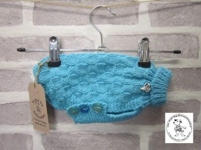the posh dog clothing company basket weave jumper blue 2