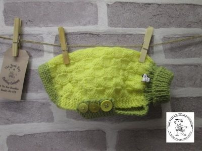 the posh dog clothing company basket weave jumper yellow green 4