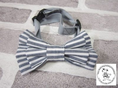 the posh dog clothing company bow tie gray stripes 1