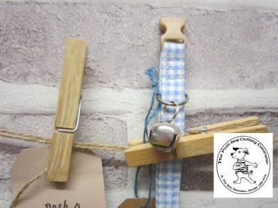 the posh dog clothing company cat collar blue check 5