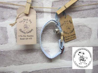 the posh dog clothing company cat collar blue check 8