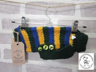 the posh dog clothing company chain link jumper green blue yellow