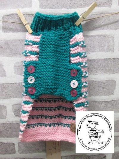 the posh dog clothing company chain link jumper pink peacock 3