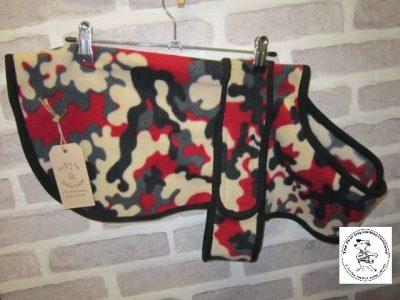 the posh dog clothing company fleece coat red camo