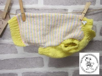 the posh dog clothing company plain jumper pastel strip yellow 1