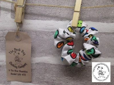 the posh dog clothing company walkies collection scrunchies buttons