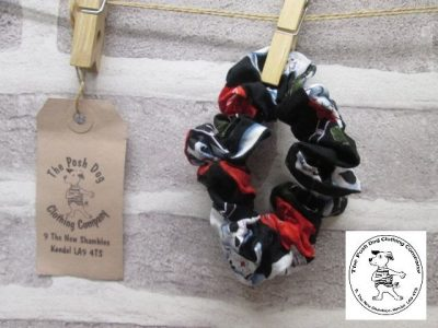 the posh dog clothing company walkies collection scrunchies skulls and roses