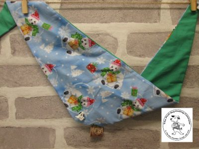the posh dog clothing company bandanna christmas trad polar green 1