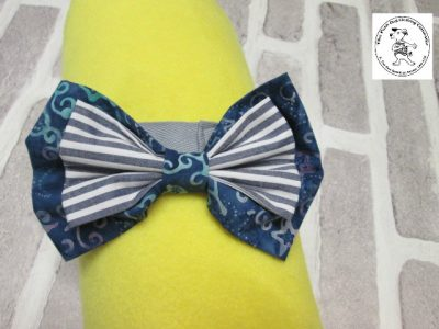 The Posh dog clothing company bow tie blue grey stripe 01