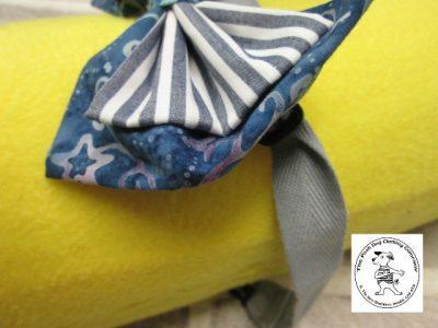 The Posh dog clothing company bow tie blue grey stripe 02
