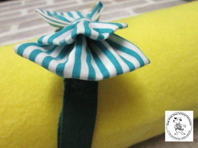 The Posh dog clothing company bow tie green stripe 02