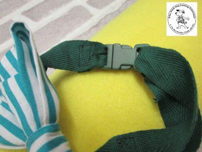 The Posh dog clothing company bow tie green stripe 03