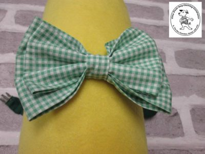 the posh dog clothing company bow tie green gingham green 01