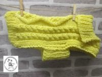 the posh dog clothing company chunky cable jumper bright yellow 1