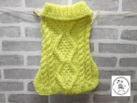 the posh dog clothing company chunky cable jumper bright yellow 4