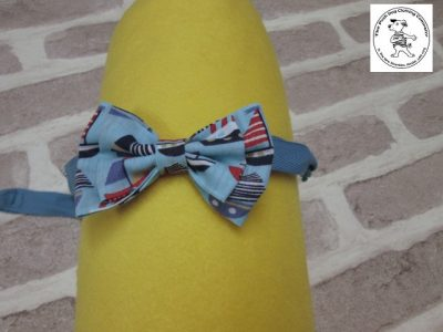 The Posh dog clothing company bow tie blue boats blue 01