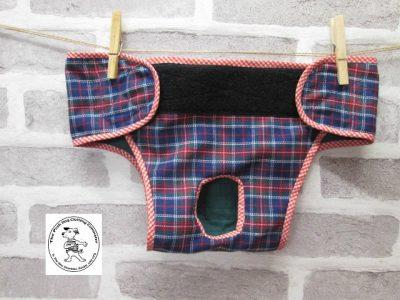 the posh dog clothing company pants blue tartan green 02