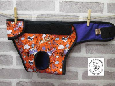the posh dog clothing company pants orange super hero purple 03