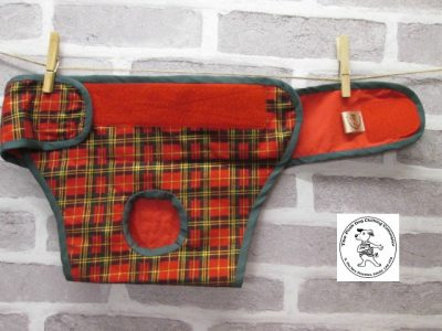 the posh dog clothing company pants red tartan red 03