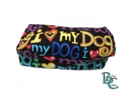 Barker and crabbe long pencil case love dogs yellow 3