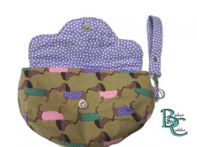clutch bag scallop flap wrist strap dogs dash on brown purple 2