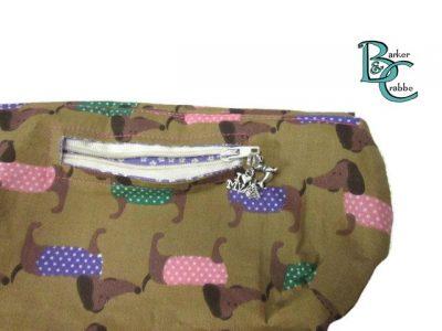 clutch bag scallop flap wrist strap dogs dash on brown purple 3