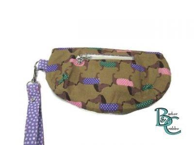 clutch bag scallop flap wrist strap dogs dash on brown purple 4