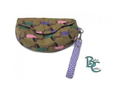 clutch bag scallop flap wrist strap dogs dash on brown purple 5