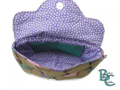 clutch bag scallop flap wrist strap dogs dash on brown purple 6