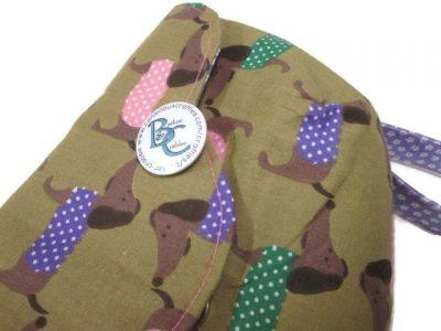 clutch bag scallop flap wrist strap dogs dash on brown purple 7