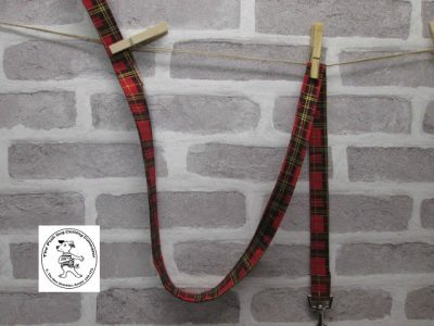 the posh dog clothing company fabric leads red tartan 1
