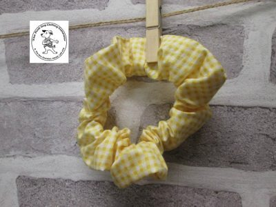the posh dog clothing company walkies scrunchy yellow ginghamn 1