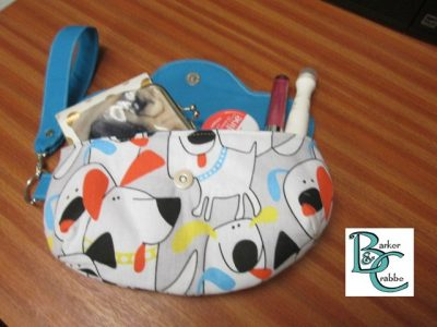 clutch bag scallop flap wrist strap dogs cartoon blue 1