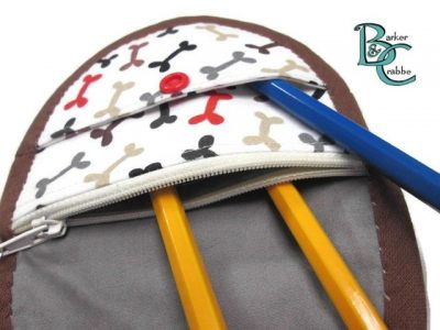 purse with oval flap bones grey 02