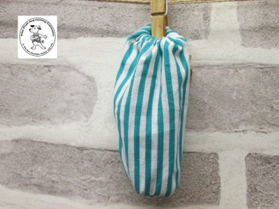 the posh dog clothing company walkies collection poo bag teal stripe 1 1