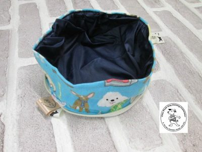 the posh dog clothing company walkies collection water bowl blue dogs 7