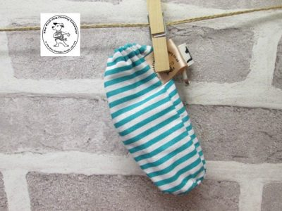 the posh dog clothing company walkies poo bag stripe teal 1